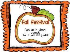Fall Festival!  Fall Autumn Theme Short Vowel Literacy Packet.  Grades 1-2   $  #shortvowels  #literacy  #phonics