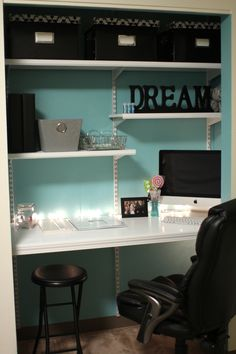 Closet converted to a craft room.