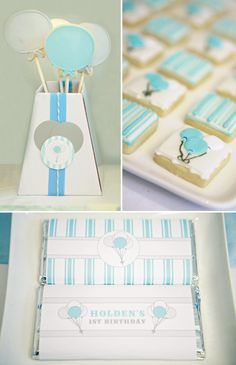 Balloon themed birthday party ideas starting with a blumebox filled with cookie balloons