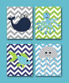 Sea Fish Whale Baby Boy Nursery art print baby room decor idea