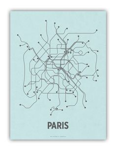Paris Subway Map by Lineposter