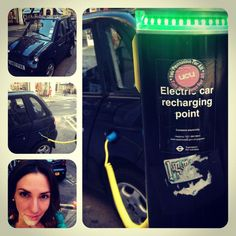 Electric car charging in middle of #london - so cool