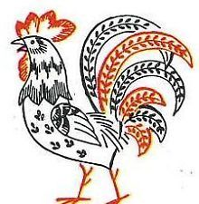 Vintage Hand Embroidery PATTERN 646 Vogart Roosters Chickens for Towels 1950s