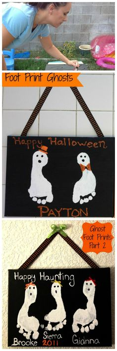 Halloween Ghost Foot Print Crafts