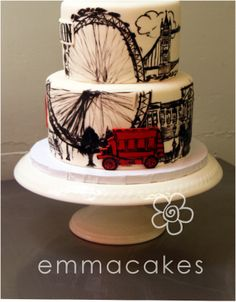 Painted London cake