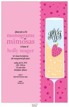 Monograms and Mimosas bridal shower theme...absolutely ideal! Yeah, this is happening. It's two of my favorite things. Love. Love. Love.