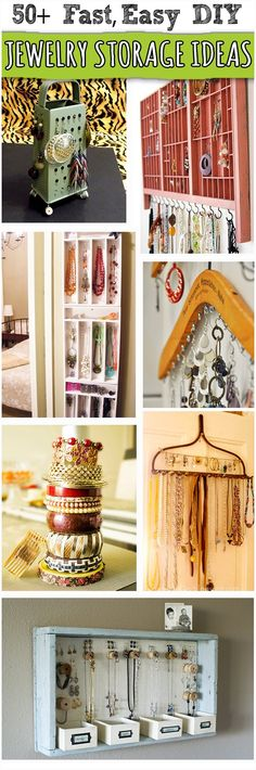50  Creative DIY Jewelry Organizers- This will be a step up from the tea saucers I usually drop my earrings into.