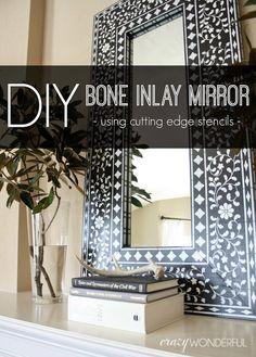 inlay mirror, craft, animals, bones, cutting edge stencils