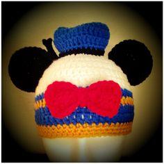 Disney Donald Duck styled Crochet Mickey Ears Hat. $30.00, via Etsy.