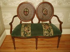 Caned balloon settee fruitwood velvet tapestry early 1900's - Antique Furniture Found on Ruby Lane