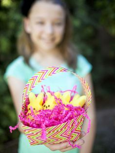 Make a funky Easter basket using our free printable basket pattern and decorative duct tape.