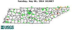 Stream gage levels in Tennessee, relative to 30 year average. 30 year