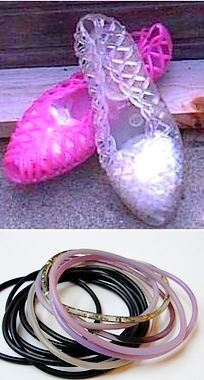 jelly shoes & bracelets. I had both. Those jelly shoes gave the worst blister's and the bracelets went half way up my arm. Adorned with my big 80's hair I was sure to look like Madonna!;)