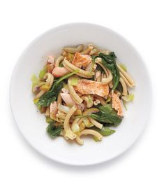 Pasta With Salmon, Spinach, and Olives recipe from realsimple.com #MyPlate #protein #vegetables