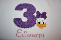Daisy Duck with Appliquéd Number Shirt with Monogram - Fully Customizable.