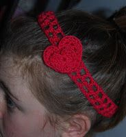 Cute Crochet Headband - Crochet Heart perfect for kids this valentines Day