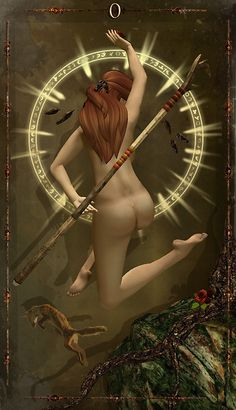 The Trionfi Project ~ Major Arcana  By Black Tara    0 ~ The Fool    The Fool is a minstrel, a vagrant, a madwoman, a wanderer. She leaps forward without fear, seeking only experience. She begins our journeys and brushes away risk with laughter.