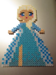 Elsa from Frozen - perler fuse beads by Deadly-Grape on deviantART