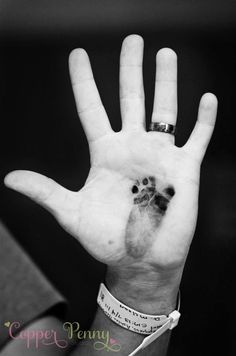 Baby footprint on daddy's hand... LOVE this idea!!!