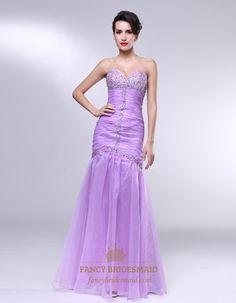 Lavender Strapless Prom Dress, Strapless Sweetheart Mermaid Prom Dress, Organza Mermaid Prom Dress, Strapless Long Beaded Mermaid Prom Dress...