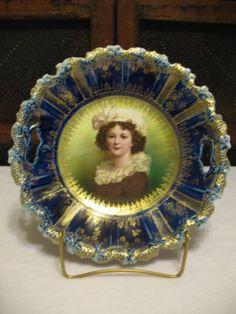 Beautiful Ummarked RS Prussia Cobalt Lebrun Self Portrait Plate