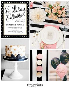 Celebrate a milestone birthday with a classy, sassy soirée. A color combination of black, white, gold, and pink is instant chic. Add graphic patterns like polka dots and bold stripes for a modern flair.