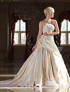 A-line Strapless Cathedral Train Taffeta Wedding Dress with ... – USD $ 349.99