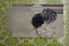 Navy Blue Gray and White Flowers with a Pearl and by lissacoari1, $12.99