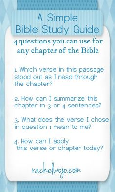 "Here is ""A Simple Bible Study Guide"" bookmark with 4 questions you can use for any chapter of the Bible. - for anyone who wants to add to the daily Bible reading challenge. You could choose a small section and answer the questions each day."