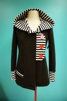 Black White Striped Red Button Tab Jacket Hoodie - Size Large #sweater #refashion - idea for upcycling