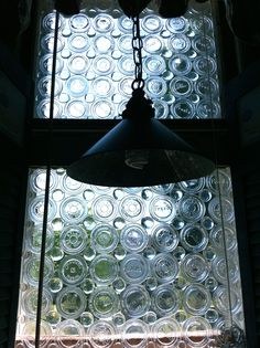 window with  canning jars lids.....