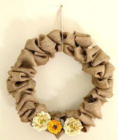 DIY fluffy burlap wreath