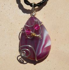 Unique Silver Wire Cat on Pink/Purple and White Striped Agate Pendant Necklace