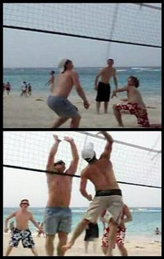 Sid playing volleyball