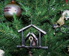 Welded Nail Christmas Tree Ornament.  Love it!  #Christmas #welding #art #ornament