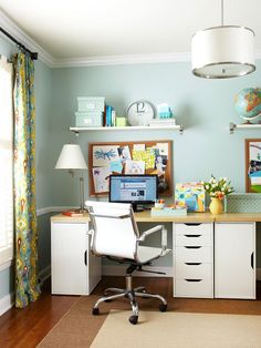 Home Office Storage. Pretty wall color.