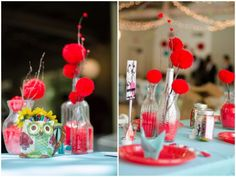 adorable diy decor. red yarn pompoms and origami cranes