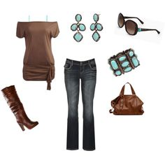 boot, color combos, turquoise outfits, brown turquoise fashion, brown and turquoise outfit