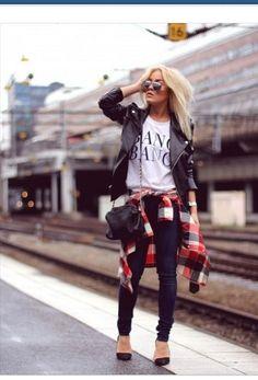 Grunge/Street Style #Plaid #Leather #GraphicTee