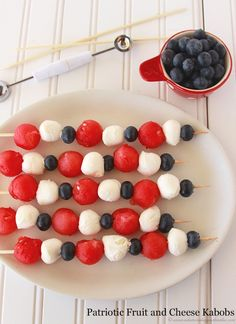Patriotic Fruit and Cheese Kabobs- ready in a snap and an adorably festive appetizer! by www.whatscookingwithruthie.com #recipes #fruit #patriotic