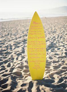 rad // surfboard menu #wedding #dinnerparty