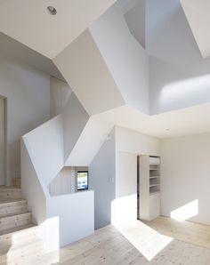 interior design, stair, white spaces, geometric shapes, design interiors, interior architecture, hous, white interiors, modern design
