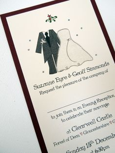 Mr & Mrs Christmas Wedding Invitation, flat mounted design, mount colour can be changed.