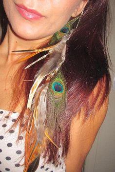 peacock feather hair clip extension