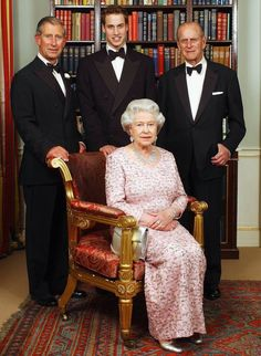 3 generations - The Queen sits in front of her son, Prince Charles, her grandson, Prince William  and her husband Phillip, The Duke of Edinburgh.