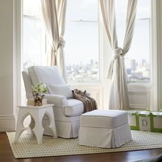 Custom Stationary Ottoman to Match your Nursery Glider | Serena & Lily