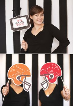 It's Game Time Football Party {PART 1} + Free Printables for a referee stripe photo booth backdrop (retro tv, football helmets, sports fan hands & more!)