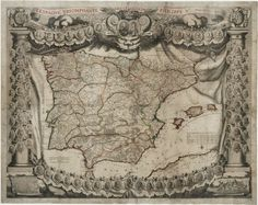 A monumental wall map of Spain early in the War of the Spanish Succession