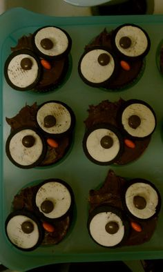 my version of owl cupcakes - Oreos + Reese's Pieces - only hard part was separating the Oreos cleanly and evenly