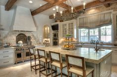 French country kitchen design brick, beams, cabinet, hous, roman shades, design, french kitchens, dream kitchens, island